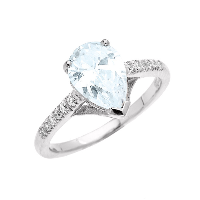 White Gold Dainty Pear Shape Aquamarine and Diamond Solitaire Proposal Ring