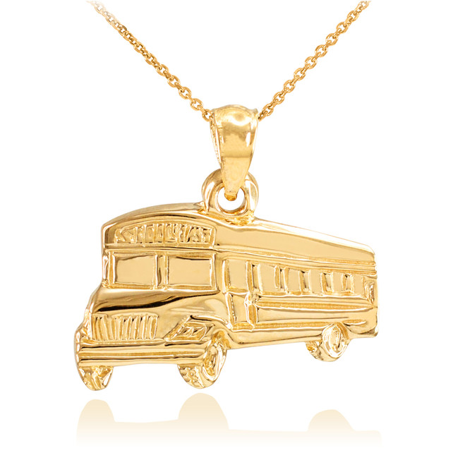 Yellow Gold School Bus Pendant Necklace