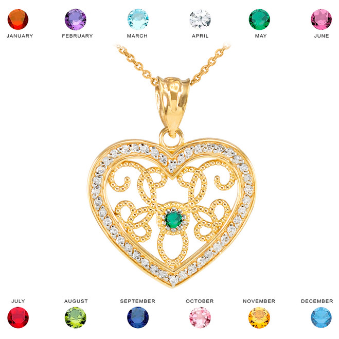Yellow Gold Filigree Heart Diamond and CZ Pendant Necklace