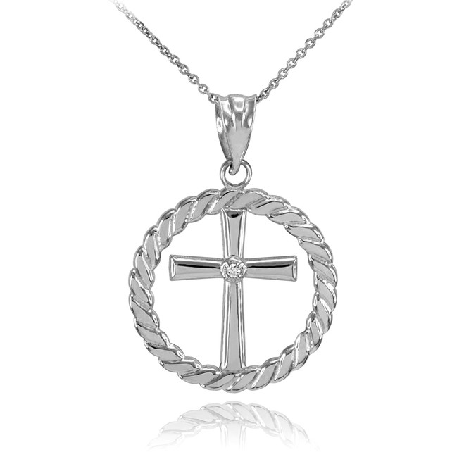 925 Sterling Silver Cross with CZ Circle Rope Pendant Necklace