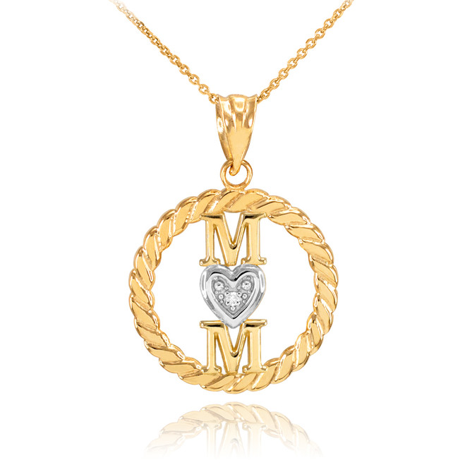 Gold Roped Circle Mom Love Heart with Diamond Pendant Necklace
