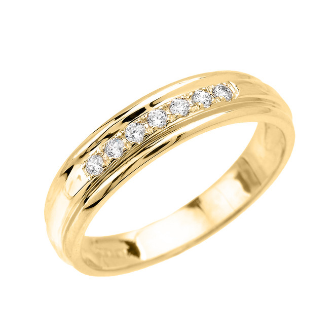 Men's Diamond Accent Wedding Band in Yellow Gold