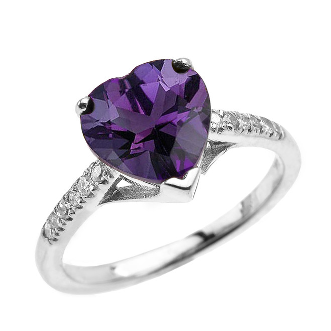 White Gold Solitaire Heart Amethyst and Diamond Engagement Proposal Ring