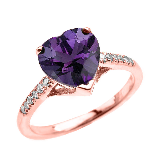 Rose Gold Solitaire Heart Amethyst and Diamond Engagement Proposal Ring