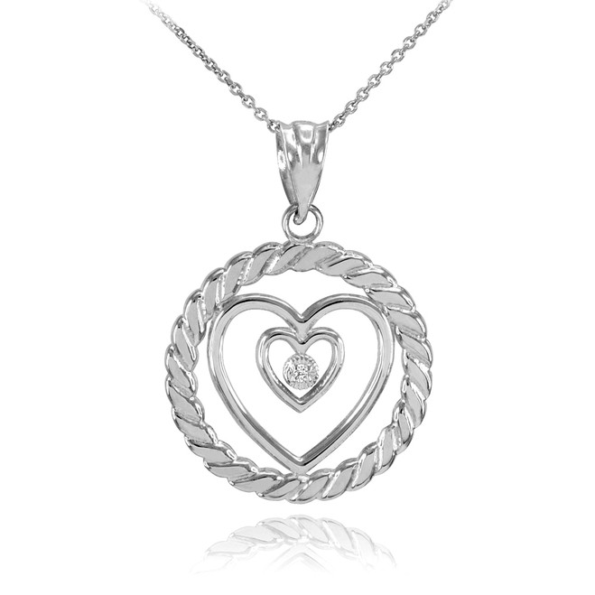 White Gold Roped Circle Double Heart with Diamond Pendant Necklace