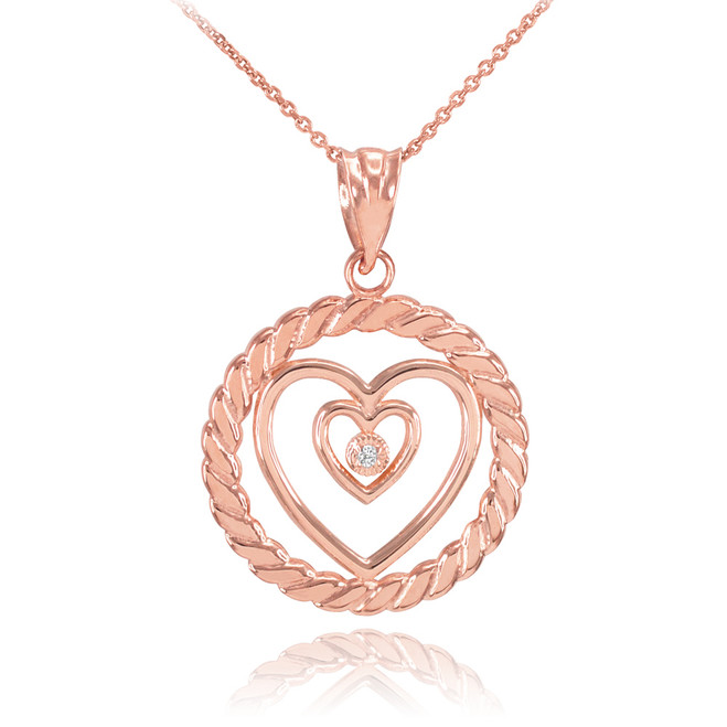 Rose Gold Roped Circle Double Heart with Diamond Pendant Necklace
