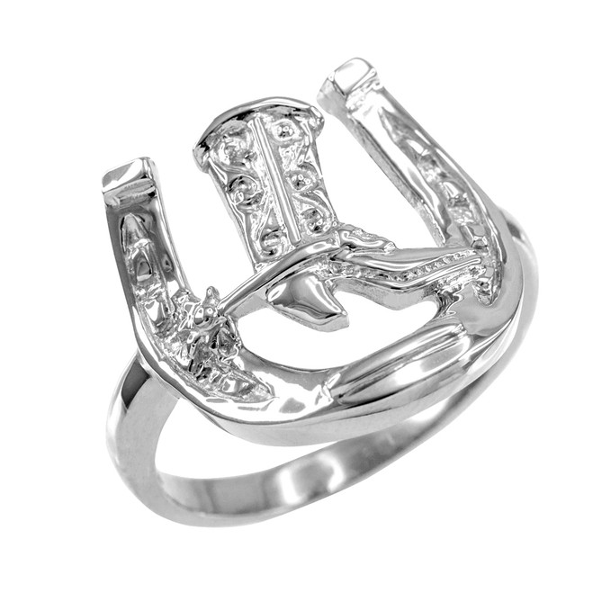 White Gold Horseshoe with Cowboy Boot Men's Ring