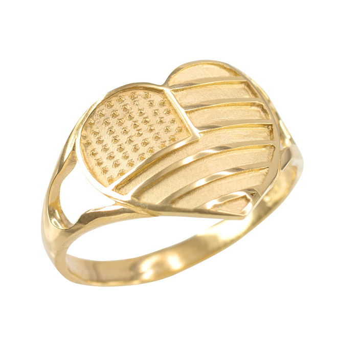 Gold Heart Shaped US American Flag Ring