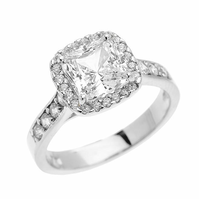 White Gold 3 Carat Princess Cut CZ Halo Solitaire Ring