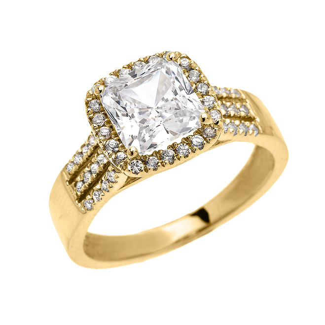 3 Carat Princess Cut CZ Halo Micro-Pave Engagement Ring in Yellow Gold