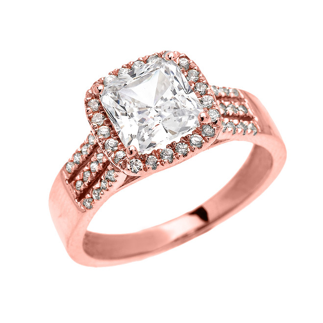 3 Carat Princess Cut CZ Halo Micro-Pave Engagement Ring in Rose Gold