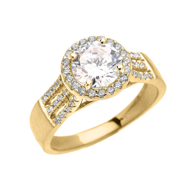 Elegant Yellow Gold Micro Pave 3 Carat Round Halo Solitaire CZ Engagement Ring