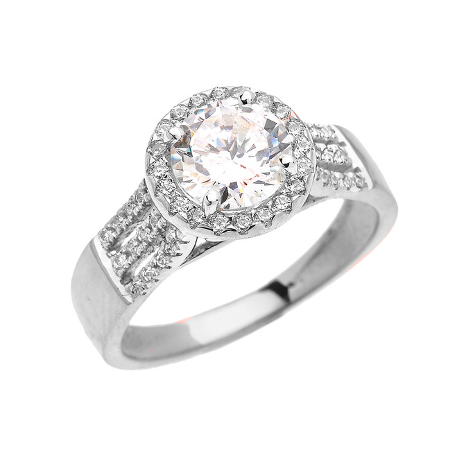 Elegant White Gold Micro Pave 3 Carat Round Halo Solitaire CZ Engagement Ring