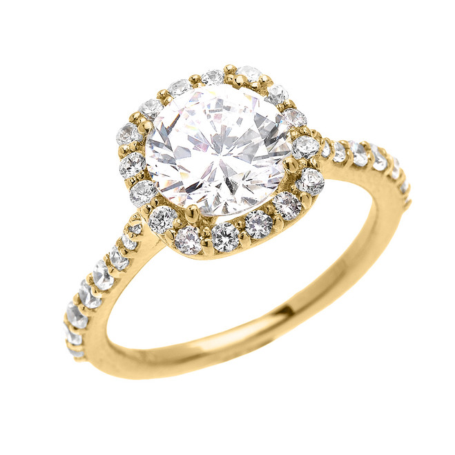 Beautiful Engagement Ring - Dainty 3 Carat Halo CZ Ring in Yellow Gold