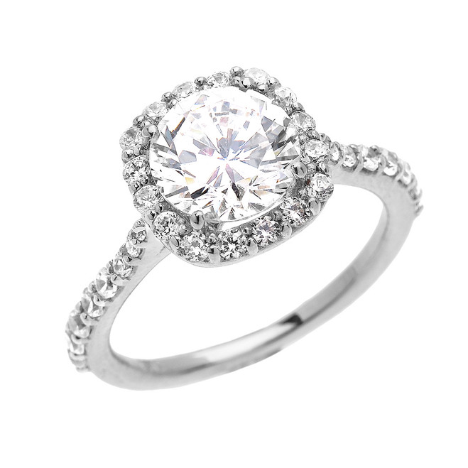 Beautiful Engagement Ring - Dainty 3 Carat Halo CZ Ring in White Gold