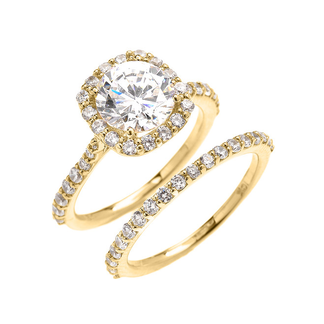Beautiful Engagement Ring - Dainty 3 Carat Halo CZ Ring Set in Yellow Gold