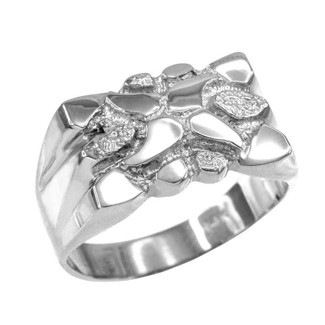 High Polish White Gold Textured Nugget Ring for Men