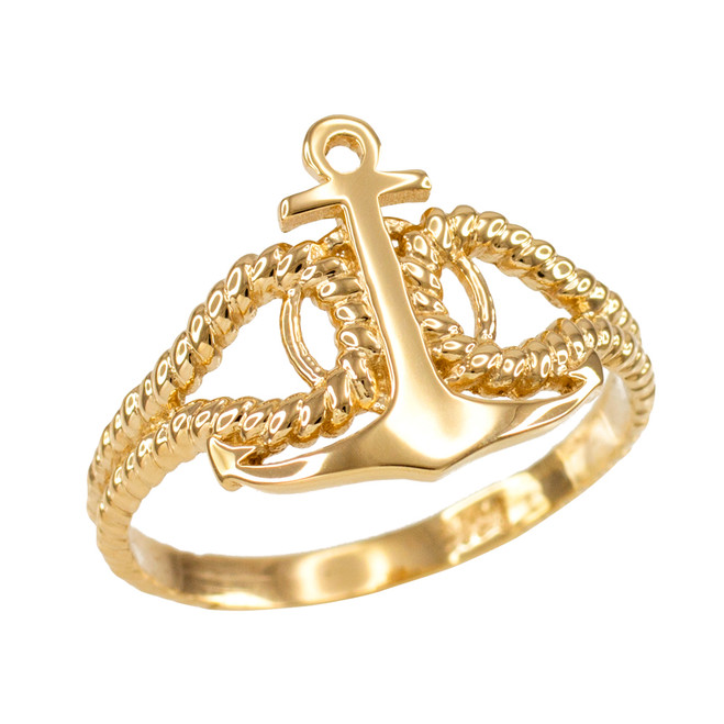 Ladies Gold Fouled Anchor Ring