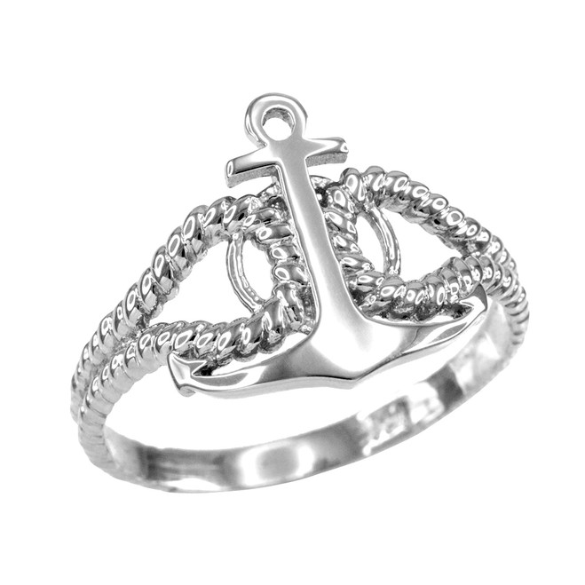 Ladies White Gold Fouled Anchor Ring