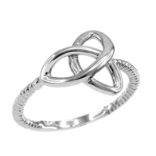 White Gold Ladies Trinity Ring