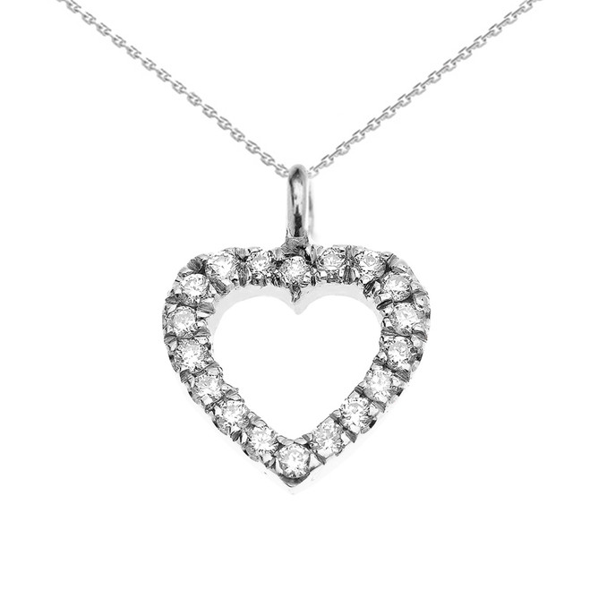 14k White Gold Open Heart  Diamond Dainty Charm Pendant Necklace
