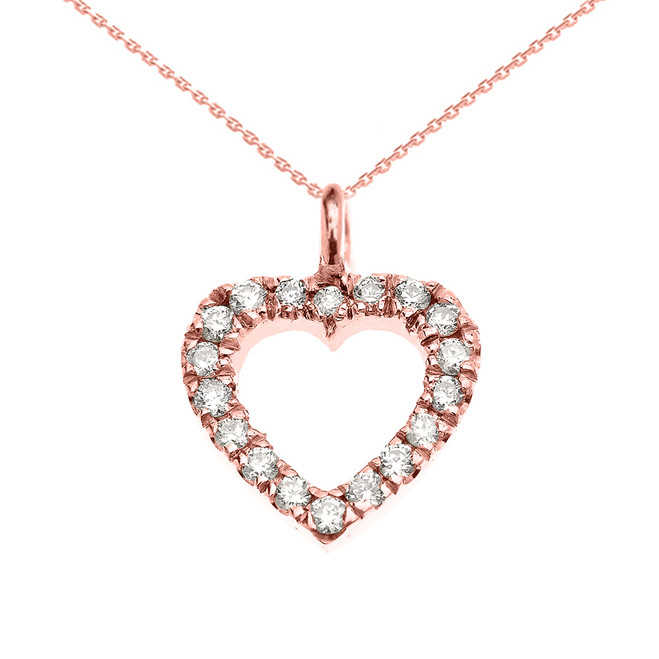 14K Rose Gold Open Heart  Diamond Dainty Charm Pendant Necklace