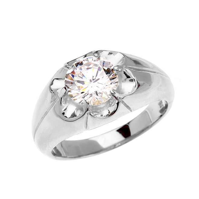 Men's Sterling Silver 4 Carat Cubic Zirconia Bold Solitaire Ring