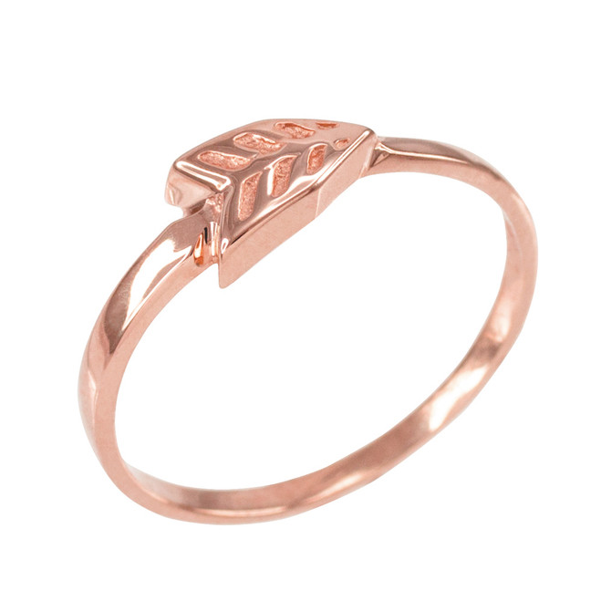 Polished Rose Gold Arrow Ring for Women