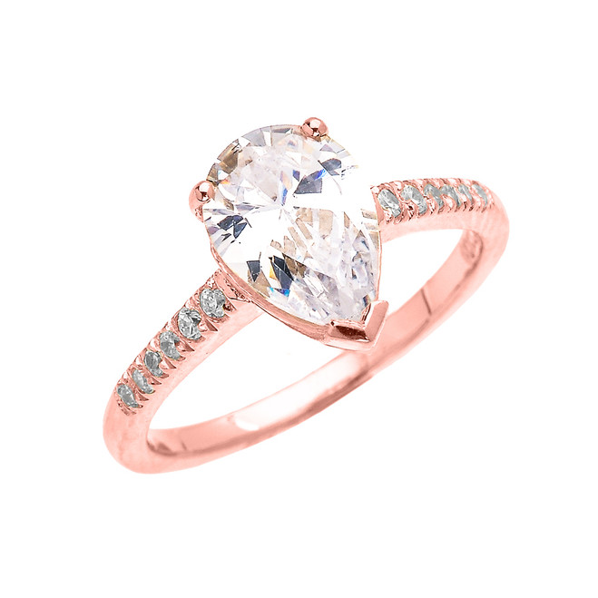 Rose Gold Dainty Pear Shape Cubic Zirconia Solitaire Proposal Ring