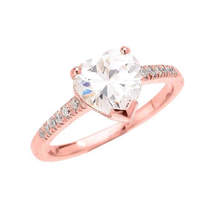 Rose Gold Dainty Heart Cubic Zirconia Solitaire Proposal Ring