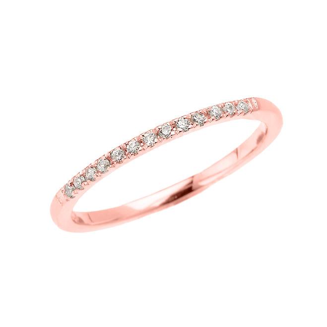 Rose Gold Elegant Diamond Wedding Band Ring