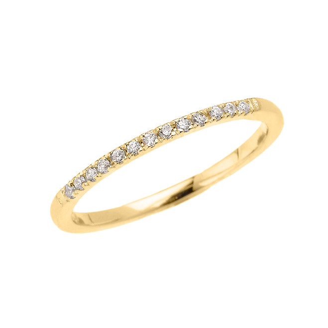 Yellow Gold Elegant Diamond Wedding Band Ring