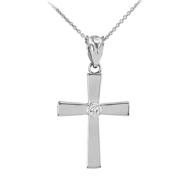 White Gold Diamond-Accented Cross Pendant Necklace
