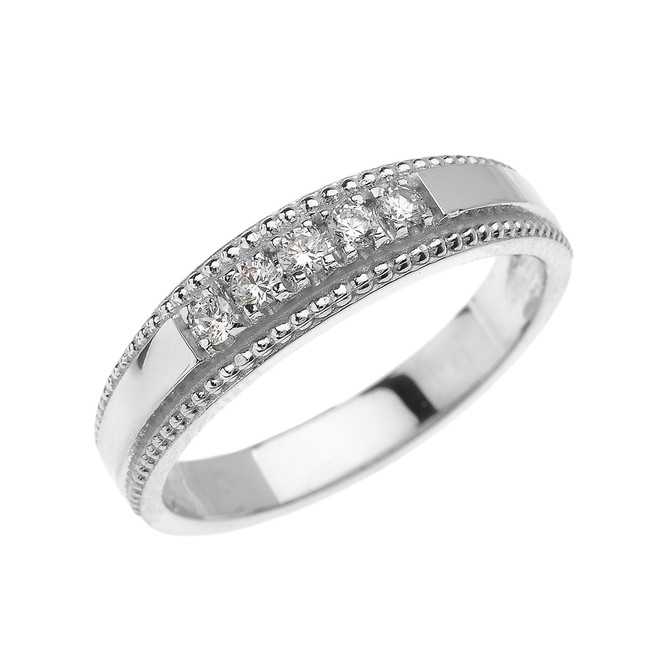 White Gold Elegant Diamond Wedding Band Ring For Him