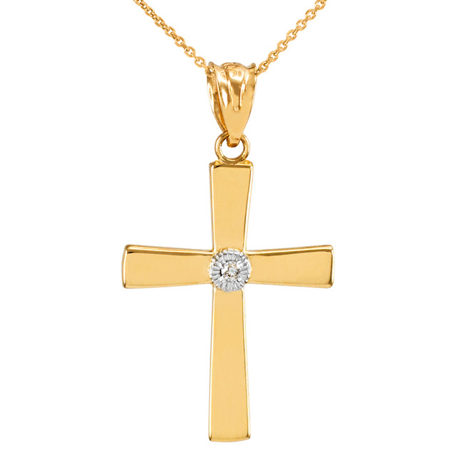 Yellow Gold Cross with Diamond Pendant Necklace