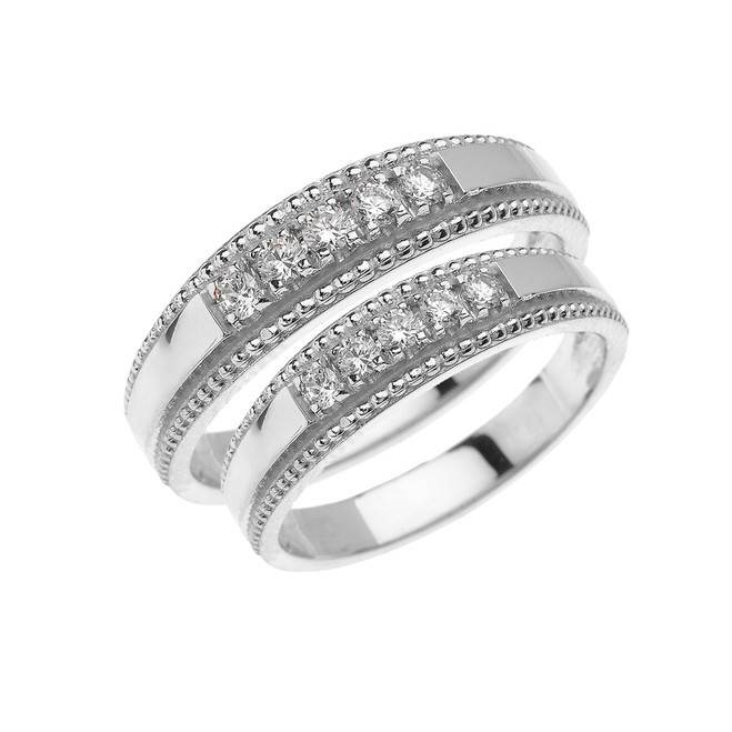 White Gold Elegant His and Hers Diamond Matching Wedding Bands