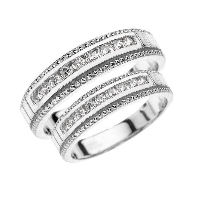 White Gold Diamond His and Hers Matching Wedding Bands