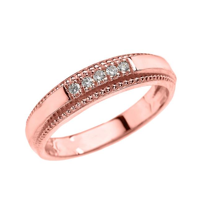 Rose Gold Diamond Wedding Band Ring For Men