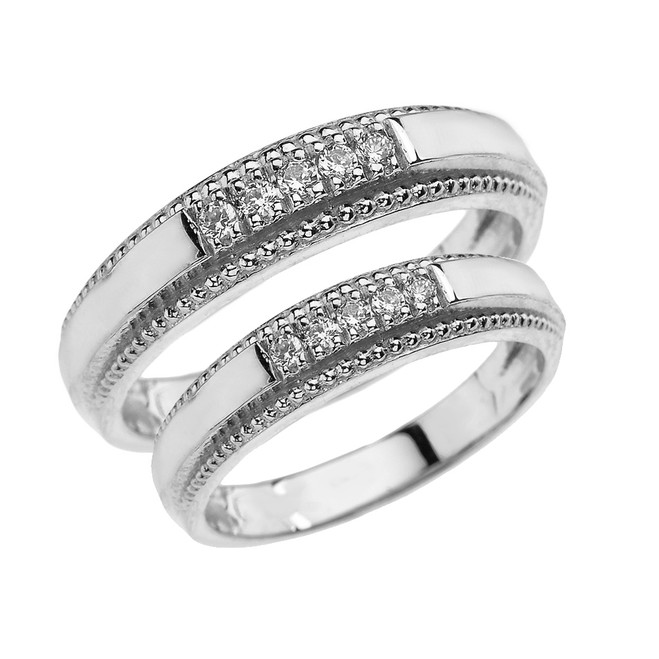 White Gold His and Hers Matching Diamond Wedding Bands