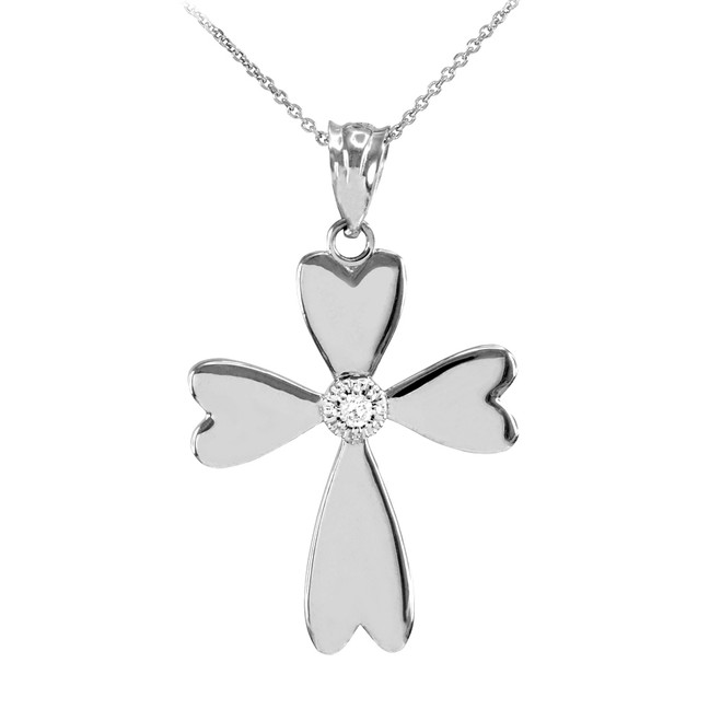 White Gold Solitaire Diamond Heart Cross Pendant Necklace