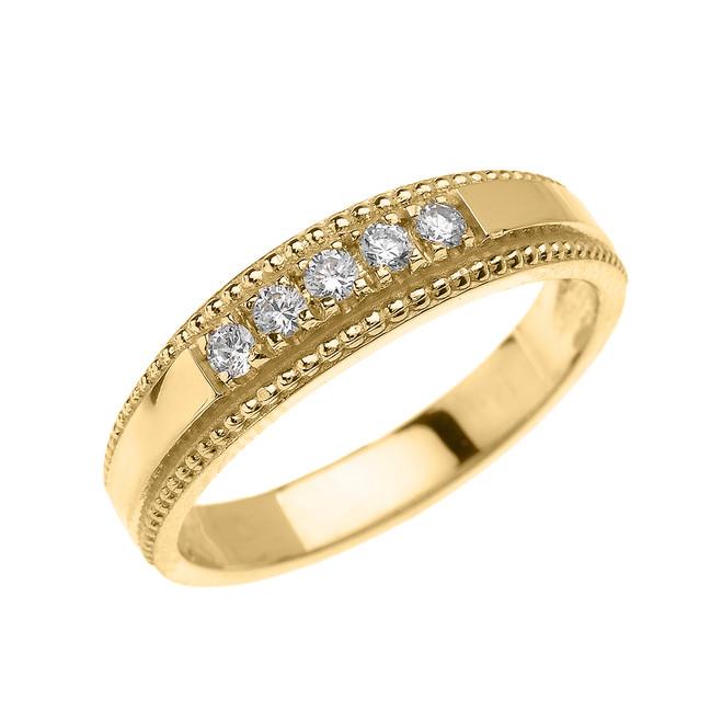 Yellow Gold Elegant Cubic Zirconia Wedding Band Ring For Him