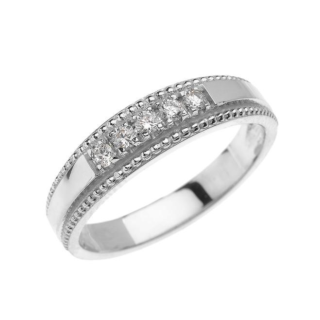 White Gold Elegant Cubic Zirconia Wedding Band Ring For Him