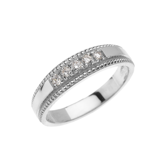 White Gold Elegant Cubic Zirconia Wedding Band Ring For Her
