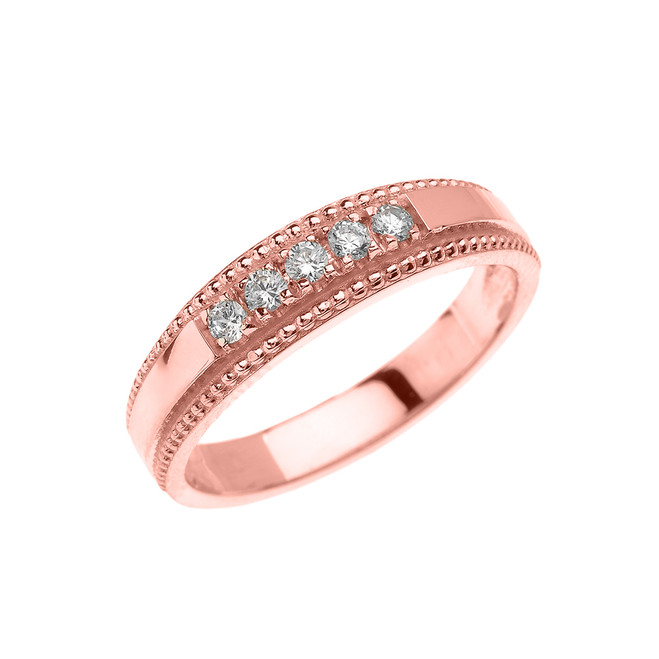 Rose Gold Elegant Cubic Zirconia Wedding Band Ring For Her