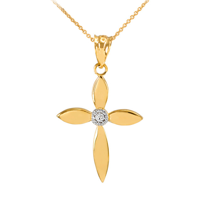 Beautiful Yellow Gold Solitaire Diamond Cross Pendant Necklace