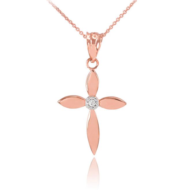 Rose Gold Solitaire Diamond Cross Dainty Charm Pendant Necklace