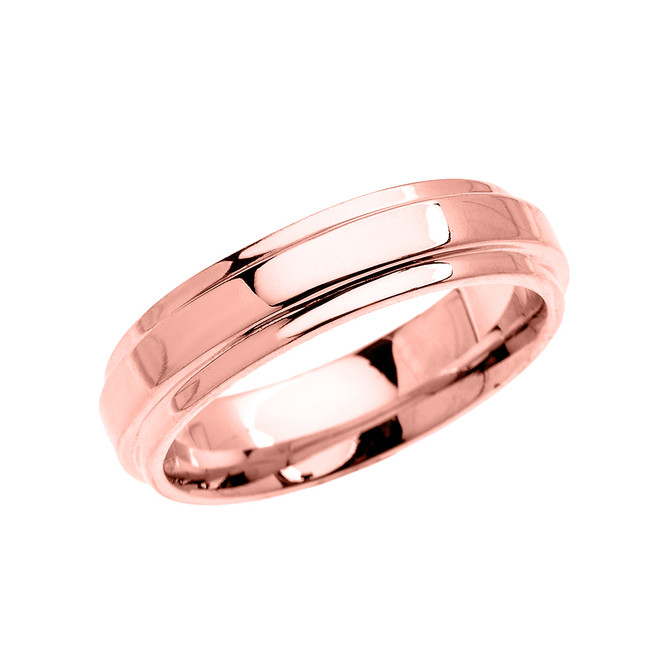 Rose Gold Elegant Double Layered Wedding Band Ring For Him