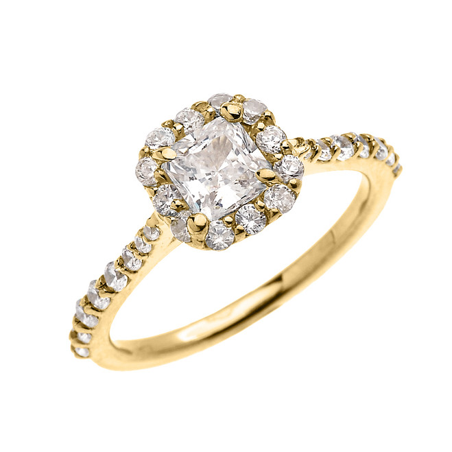 Yellow Gold Dainty 1 Carat Princess Cut CZ Halo Solitaire Ring