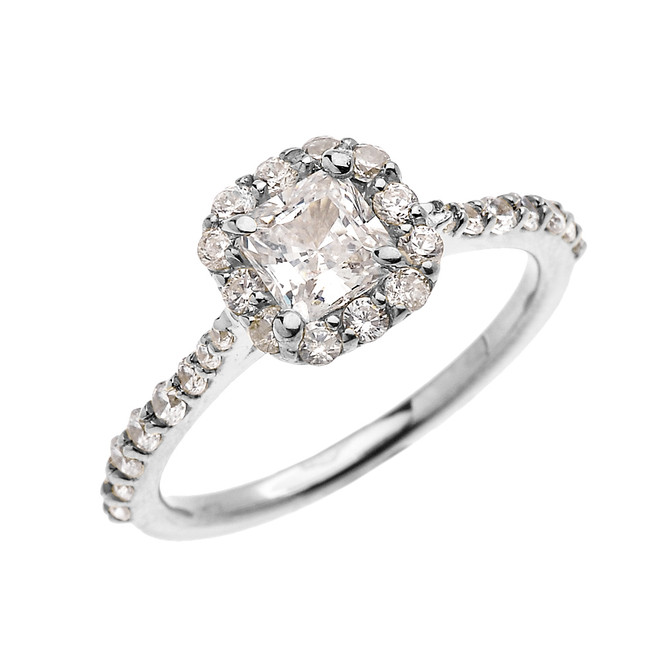 White Gold Dainty 1 Carat Princess Cut CZ Halo Solitaire Ring