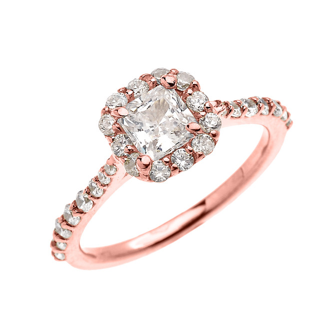 Rose Gold Dainty 1 Carat Princess Cut CZ Halo Solitaire Ring